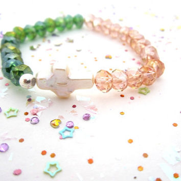 Pearl cross bracelet, color block bracelet, peach pink and green bracelet, bead bracelet, sale last one
