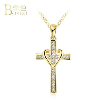 BOAKO Infinity Love Cross Pendant Necklace For Women Men Gold Color Zircon Chain Choker Necklace Jewelry collier Dropshipping Z4
