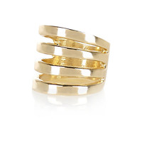 River Island Womens Gold tone multi row midi ring