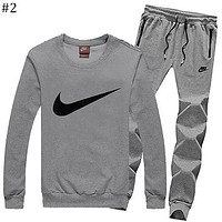 NIKE autumn and winter models men's plus velvet round neck shirt casual thin section feet pants sportswear two-piece suit #2