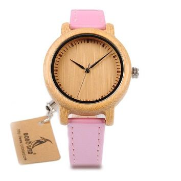 Bamboo Watch for Women Simple Pink