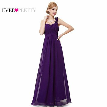 Wedding Bridesmaid Dresses Ever Pretty EP09768 Fashion Women Flower One Shoulder Chiffon Padded Long Bridesmaid Dresses 2017
