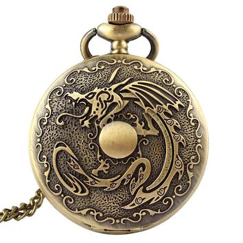 Deadpool Dead pool Taco Retro Antique Fullmetal Alchemist Pocket Watch Dragon Bronze  Necklace Chain Vintage Quartz Pocket Fob Watches Men 2017 AT_70_6