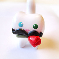 Mustache Cat with Red Rose Miniature Figure