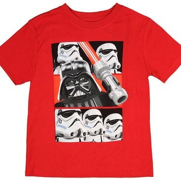 Lego Star Wars Boys' Darth Vader Lightsaber Stormtrooper Movie Character T-Shirt