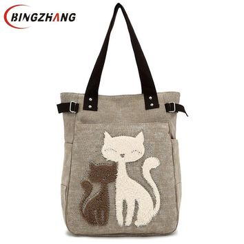 Fashion Women Canvas Handbag Cute Cat Appliques Travel Shoulder Bags Causal Lady Handbags Female Shoulder Tote Bags L4-2544
