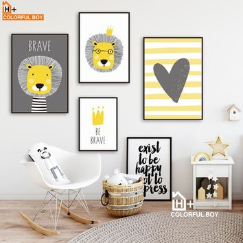 COLORFULBOY Lion Crown Heart Quote Wall Art Canvas Painting Nordic Posters And Prints Animals Wall Pictures Baby Kids Room Decor
