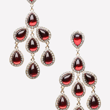 bebe Womens Chandelier Drop Earrings Red Gold