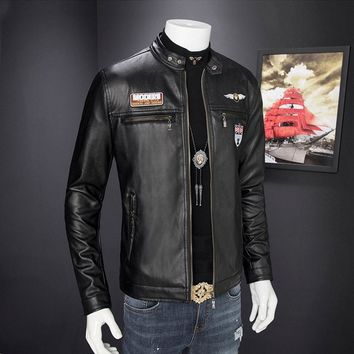 New Men Slim Fit Collar Motorcycle Biker PU Leather Outwear Coat Jackets Fashion Jacket Coat Outwear