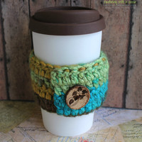 Crocheted Coffee Sleeve - Blue, Green, & Brown - With Hand Carved Wooden Button