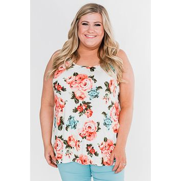 It's a Sweet Love Floral Tank Top-Ivory