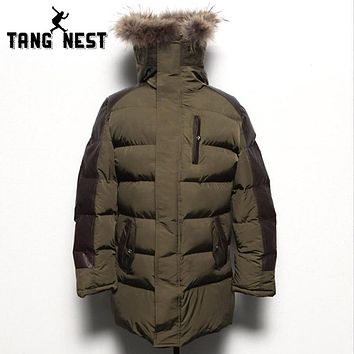 Winter Hooded Men Fashion Coat New Design Warm Thick Male Jacket Patchwork Jacket