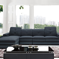 Divani Casa 5132 Modern Fabric & Bonded Leather Sectional Sofa