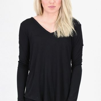 Loose Fit V-neck L/S Basic {Black}