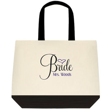 Mrs. Bride Customizable Large Canvas Tote Shoulder Bag Bridal or Birthday Great Gift Idea