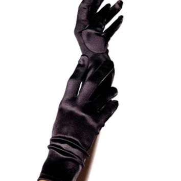 Wrist Length Satin Gloves in BLACK