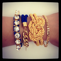 True Blue silk Knot Bracelet - 24k gold plated