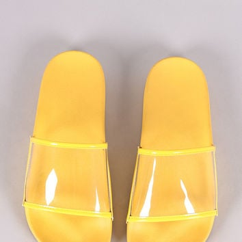 Lucite Band Open Toe Slide Sandal