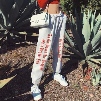 Fashion Casual Personality Gothic Letter Print High Waist Drawstring Leisure Pants Trousers Women Sweatpants