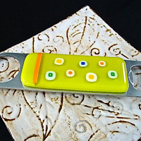 Lime Green Glass Bottle Opener