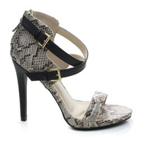Newbee11 Nude Snake By Anne Michelle, Snake Two Tone Cut Out Ankle Strap Zipper Buckle High Heel