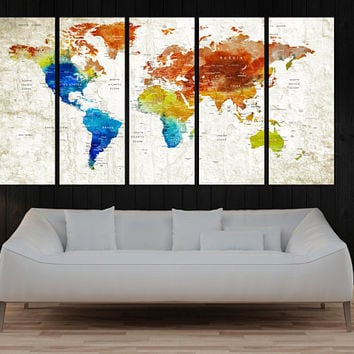 watercolor Push Pin world map art canvas print, watercolor print, large travel world map with country name, world map canvas print, No:10S27
