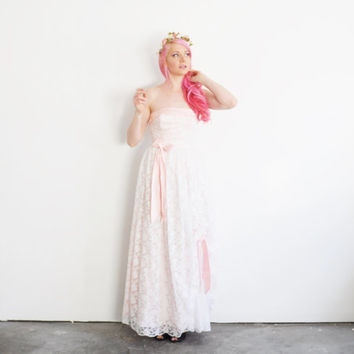 little bo peep wedding dress . pink bows and white lace .extra small.xs