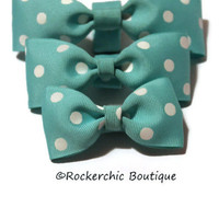 Pet Bow Tie, Dog, Cat, Puppy, Kitten - Teal, Polka Dots - Pet Accessories, Collar Accessory, Cat Bow Tie, Dog Bow Tie - Choose Your Size