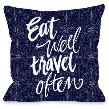 """""""Eat Well Travel Often"""" Indoor Throw Pillow by Jeanetta Gonzales, 16""""x16"""""""