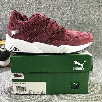 PEAPON3A VAWA Puma Trinomic Blaze Suede Mid-High Casual Shoes Sneaker Wiine Red