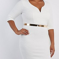 PLUS SIZE MATELASSE BODYCON DRESS