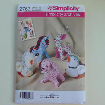 Simplicity Archives 2763 Sewing Pattern Stuffed Animals Horse, Duck, Dog, Deer and Chicken UNCUT