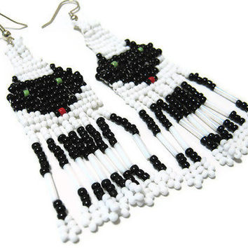 Long Black and White Seed Beaded Wolf Earrings