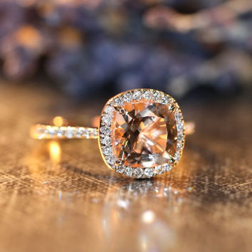 Halo Diamond Morganite Engagement Ring in 14k Rose Gold Pave Diamond Wedding Band 8x8mm Cushion Cut Gemstone Ring (Wedding Set Available)