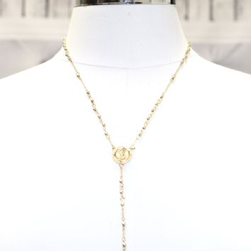 Thin Long Rosary Necklace