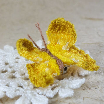 Yellow Tone Crochet Butterfly Brooch / Pin / Clip / Tiepin