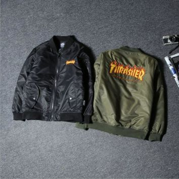 Tide Brand Autumn And Winter The New Thrasher Flame Street Flight Jacket Cotton Men And Women Couple Jacket Black
