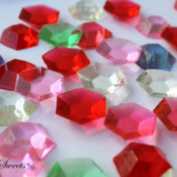 50 ASSORTED COLORS Edible Sugar Gems Barley Sugar Bite Sized Hard Candy Cake Decor Cupcake Jewels