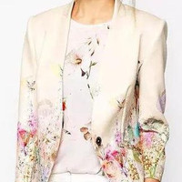 Cream Floral Print Long-Sleeve Blazer