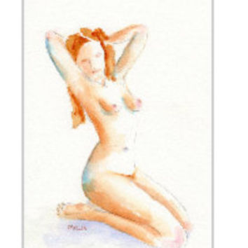 "Nude Female sketch watercolor painting, 5x7"" matted in 8x10, Pin Up model,  Woman kneeling frontal, Gestural pose, Girl, Drawing, Gift Ready"