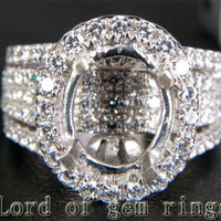 HEAVY! 9x11mm Oval Cut 14K White Gold 3.03CT Diamonds Engagement Semi Mount Ring