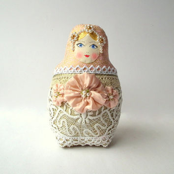 Babushka fabric doll, Matryoshka russain doll. Plush toy. Shabby chic doll, pale palette. OOAK doll for home decor, nice gift