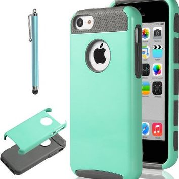 ULAK 2in1 Shield Series Rugged TPU Hybrid Case for Apple iPhone 5C - Mint Green / Gray