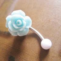Mint Green Turquoise Rose Belly Button Ring by Azeetadesigns