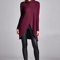 Cozy Chic  Long Sleeve Oversize Tunic Sweater - Burgundy