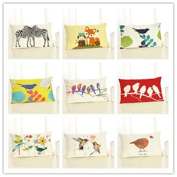 Personalized Cartoon Animals Owl Watercolor Birds Fox Cushion Cover Meditation 30x50Cm Cotton Linen Scatter Throw Pillow Case