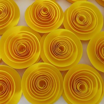 """Bright yellow rosettes, set of 12 1.5"""" roses set, colorful wedding floral decorations, bridal shower decor, party must haves"""