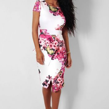 Pickney White & Floral Offset Peplum Midi Dress | Pink Boutique