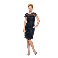 CLEARANCE - Short Vintage-Like Lace Dress Navy Blue Cap Sleeves (Size Large)