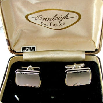 Pennleigh Silver Cufflinks, Brushed Finish, Diamond Cut Edges, Rectangle, Vintage Boxed Cuff Links, Wedding, Formal, Black Tie
